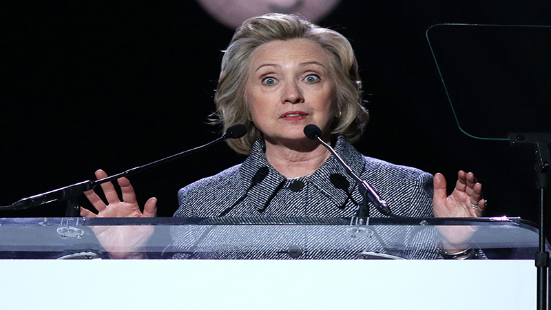 NEW YORK - March 10, 2015: Hillary Clinton speaks during the Step It Up For Gender Equality event at the Hammerstein Ballroom on March 10, 2015, in New York.  (Shutterstock)