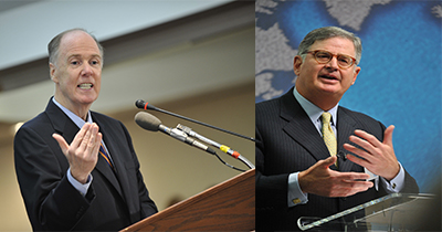 (Left) Tom Donilon will chair the Cybersecurity National Action Plan. (Photo: CSIS). (Right) Sam Palmisano will serve as vice chairman of CNAP. (Photo: IBM)