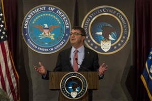 Defense Secretary Ash Carter addresses the workforce at U.S. Cyber Command on Fort Meade, Md., March 13, 2015. (Photo: DOD)