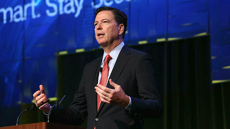 FBI Director James Comey speaks Aug. 30 at the Symantec Government Symposium in Washington, D.C. (Photo: MeriTalk)