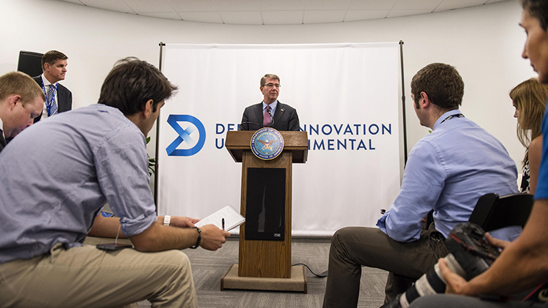 Defense Secretary Ash Carter holds a news conference at the new Defense Innovation Unit Experimental, or DIUx, office in Boston, July 26, 2016. (Photo: Department of Defense)