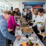 Attendees enjoy the lunch buffet.