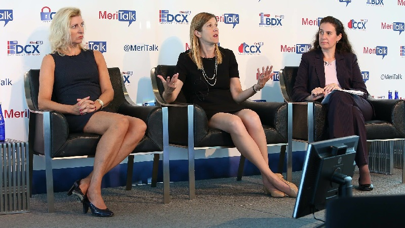 Lisa Donnan, left, Jenny Menna, and Renee Tarun address the 2016 Cyber Security Brainstorm on Sept. 13, 2016. (Photo: MeriTalk)
